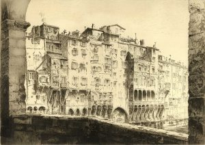 black and white etching italian architecture on the water