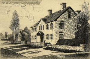 black and white etching of a country home