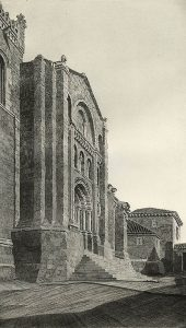 black and white etching of the facade of a stone building