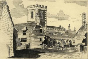 black and white etching of church