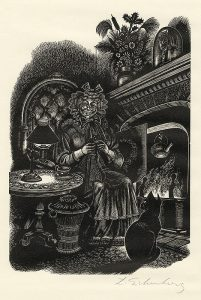 lady knitting in front of fire with cat