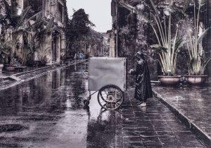 an atmospheric sense of a lone figure in Hoi An, Vietnam