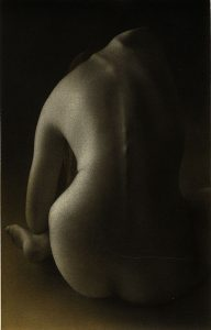 A young nude woman seen from the back